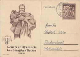 WW2 WINTER RELIEF FUND, WOMAN, EDELWEISS FLOWER, PC STATIONERY, ENTIER POSTAL, 1939, GERMANY - Briefe U. Dokumente