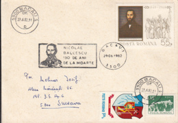 NICOLAE BALCESCU, 1848 REVOLUTION, SPECIAL POSTMARK AND STAMP ON COVER, 1982, ROMANIA - Cartas