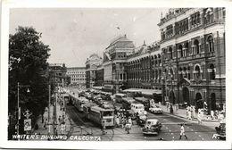 India, CALCUTTA, Writer's Building, Cars Tram (1958) RPPC Postcard - India