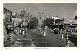 India, CALCUTTA, Sambazar Shambazar, Car Truck Tram (1950s) RPPC Postcard - India