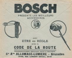 245/29 -- LAMPES Voitures Belgique - Enveloppe Publicitaire Des CCP Circulée 1934 - Allumage-Lumière BOSCH + Canadian - Timbres