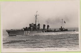 """TORPILLEUR  """" L'ALCYON """"  / Photo Marius Bar, Toulon / Marine - Bateaux - Guerre - Militaire - Guerra"""
