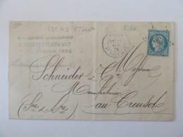 Lettre Paris Vers Le Creusot - Timbre Cérès YT N°60A - Ob. Etoile Chiffrée N°36 - 1872 - Postmark Collection (Covers)