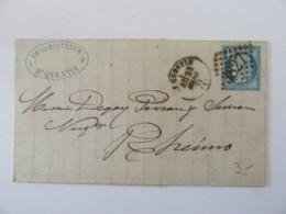 Lettre St Quentin Vers Reims (Rheims) - Timbre Cérès YT N°60C - Ob. GC 3827 - 1875 - 1849-1876: Période Classique