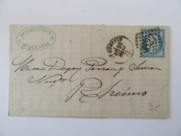 Lettre St Quentin Vers Reims (Rheims) - Timbre Cérès YT N°60C - Ob. GC 3827 - 1875 - Postmark Collection (Covers)