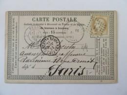 Carte Précurseur Fère En Tardenois Vers Paris - Timbre Cérès 15c YT N°55 - Ob. GC 1483 + Poste Restante - 1875 - Marcophilie (Lettres)