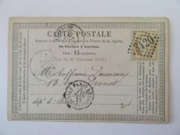 Carte Précurseur Soissons Vers Paris - Timbre Cérès 15c YT N°55 - Ob. GC 3420 + Poste Restante - 1875 - Marcofilia (sobres)