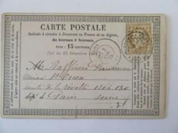 Carte Précurseur Laon Vers St Ouen Sur Seine - Timbre Cérès 15c YT N°55 - Ob. GC 1959 - 1875 - Marcophilie (Lettres)