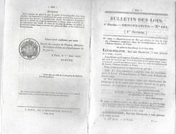 Bulletin Des Lois N° 161 - 07/06/1832 - Déclaration En état De Siège Les Communes Comprises Dans Les Arrondissemens De L - Decreti & Leggi