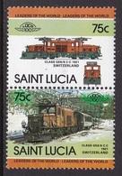2 TIMBRES NEUFS DE SAINTE-LUCIE- LOCOMOTIVE CLASS GE6/6 C-C, 1921, SUISSE N° Y&T 662/663 - Trains