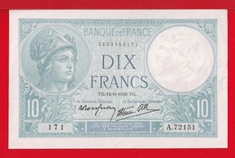 """BILLET DE 10 FRANCS """" MINERVE """" DU 14-9-1939  A.72151  SPL - 1871-1952 Antichi Franchi Circolanti Nel XX Secolo"""
