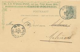 253/29 -- Entier Repiqué Van De Vyvere-Petyt , Drukkerij BRUGES 1893 Vers MALINES - Entiers Postaux