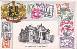 CPA Bruxelles - La Bourse - Représentation Timbres (carte Repoussée) - Timbres (représentations)
