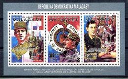 Thématique De Gaulle - Madagascar - Bloc Feuillet Yvert 987 à  989 - T 888 - De Gaulle (General)