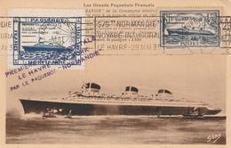 """Carte Maximum - Première Liaison Postale Le Havre - New York Par Le Paquebot """"Normandie - Steamers"""