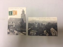 2 CPA Anciennes De Saint Hilaire-le Chatel  église Animée Et Vue Générale ( écriture Au Stylo) - Frankrijk