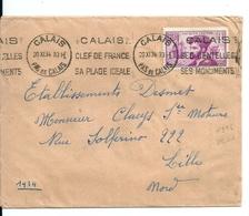 Lettre Avec N°296 Jacques Cartier /Calais Clef De France,Plage Idéale... 1934 - Francia