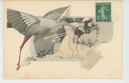 FEMMES - FRAU - LADY - Jolie Carte Fantaisie ART NOUVEAU Portrait Femme Et Cigogne - Illustrateur HAUBY - Women