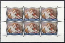 """Vaticano 1991 Bf. 896 Lunette Cappella Sistina """"Eleazar"""" Affresco Dipinto Quadro Michelangelo MNH Sheet Di 6 + Brossura - Religione"""