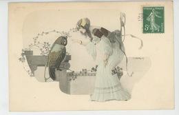 FEMMES - FRAU - LADY - Jolie Carte Fantaisie ART NOUVEAU Portrait Femme Et Hibou - Illustrateur HAUBY - Mujeres