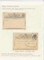 264/29 -- 2 X Entier Postal 1 A S/feuille D' Album - 1 NEUF , 1 Double Cercle BRUGES 1872 Vers BXL - Postcards [1871-09]