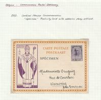 265/29 -- Carte Illustrée Cardinal Mercier , Type Entier Postal , Timbrée Et Griffe SPECIMEN - Ganzsachen