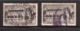 GUERRE 40 Chenonceaux Obl. USA Télégramme Postes X 2 N° 611 - Marcophilie (Timbres Détachés)