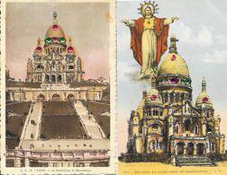 Lot De 5 Cartes De Paris Fantaisie, Avec Brillants (Montmartre, Trocadéro, Notre-Dame) - Loten, Series, Verzamelingen