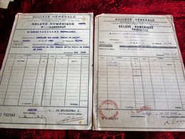 WW2 1943 -2 LOTS ACHAT ACTIONS TITRES-OBLIGATIONS 500fr VILLE DE PARIS 1875-RELEVE NUMERIQUE -SOCIÉTÉ GÉNÉRALE CHINON - Aandelen
