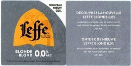 Belgium. Leffe Blonde - Blond 0,0 % Alc. Nouvelle - Nieuwe. Saveur Délicate De Clous De Girofle Avec Vanille, Note Fumée - Portavasos