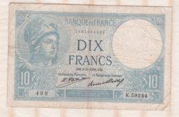 10 Francs Minerve 6 – 8 - 1931. Alphabet K.59244 N° 498 - 1871-1952 Antichi Franchi Circolanti Nel XX Secolo