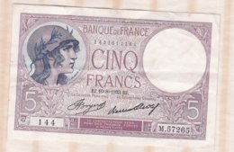 5 Francs Violet 10 – 8 – 1933. Alphabet : M.57265 N° 144 - 5 F 1917-1940 ''Violet''