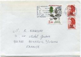 SAINT PIERRE ET MIQUELON LETTRE AVEC AFFRANCHISSEMENT MIXTE SPM / FRANCE DEPART ST PIERRE 19-3-86 POUR LA FRANCE - Lettres & Documents