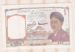 Banque De L Indochine, 1 Piastre , Alphabet R.10524 N° 266, Billet Neuf - Indochina