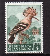 REPUBBLICA DI SAN MARINO 1960 VARIETÀ VARIETY FAUNA AVICOLA UCCELLI BIRDS UPUPA LIRE 4 MNH - Nuovi