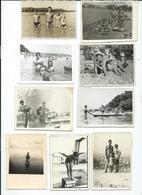 LOT - 9 Small Photos ( 9 Cm / 6.5 Cm ) Children ,MEN AND WOMEN IN SWIMSUITS ON THE BEACH 1955/70.costume Da Bagno - Persone Anonimi
