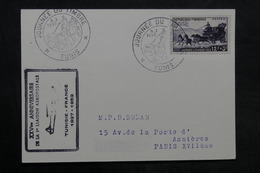 TUNISIE - Carte De La Journée Du Timbre De Tunis En 1952 Pour Paris , Cachet De Ligne Aérienne - L 33668 - Tunisie (1888-1955)