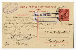 Portugal,Ganzsache 20 Reis, Lisboa - Stuttgart - Interi Postali