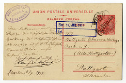 Portugal,Ganzsache 20 Reis, Lisboa - Stuttgart - Enteros Postales