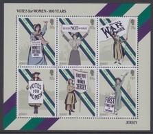 Jersey 2018 - Votes For Women Souvenir Sheet- Unmounted Mint NHM - Jersey