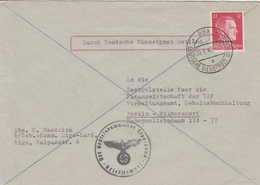 Lettonie Occupation Allemande Lettre De Service Riga Pour L'Allemagne 1943 - Lettland
