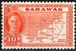 Sarawak / Malaysia 1952 Scott 195 MNH King George, Map - Francobolli