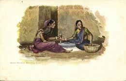 British India, Native Ghati Women Grinding Corn (1899) Artist Signed Postcard - India