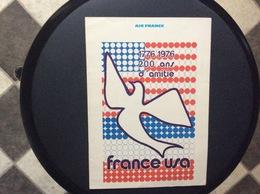 MENU AIR FRANCE  France-Usa  PARIS-LOS ANGELES  1976 - Menus