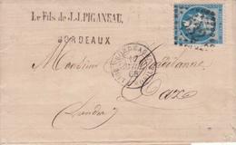 MARQUE POSTALE LAC   BORDEAUX  A DAX  CACHET BOITE MOBILE  17 AVRIL 1866 - Postmark Collection (Covers)