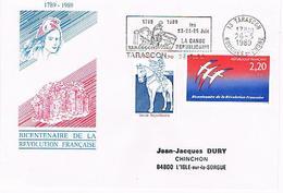 13- TARASCON S/ YT 2115 & 2560 Concordance Avec Flamme SECAP Garde Républicaine 1989 (87) - Marcophilie (Lettres)