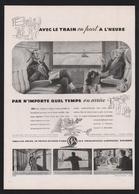 Pub Papier 1947  Voyage SNCF Societé Nationale Des Chemins De Fer Trains  Montagne Neige Sport D'hiver - Advertising