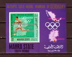 Aden-Mahra. Mi Cat. 138, BL15 A. Grenoble Olympics, German Winners Silver O/printed S/sheet. - Winter 1968: Grenoble