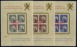 CZECHOSLOVAKIA 1919 Czech Legion 15, 25 And 50 H. Blocks Of 4 Used On Presentation Sheets.  Michel 34-36 - Czechoslovakia