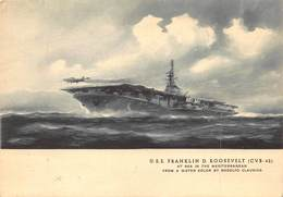 AIRCRAFT CARRIER U.S.S. FRANKLIN ROOSEVELT AT SEA IN THE MEDITERRANEAN~RODOLFO CLAUDIUS WATERCOLOR POSTCARD 40967OS - Krieg